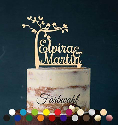Boom, vogel, topper, bruiloftboom, cake topper, taartsteker, individueel - taartfiguur acryl, taartstaander - kleurkeuze - etagère bruiloft bruidstaart