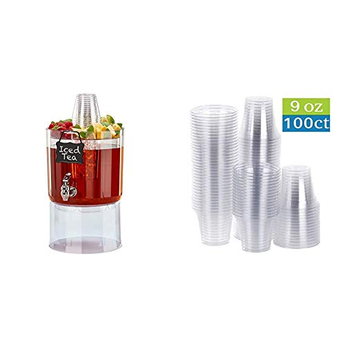 Buddeez Party Top New Beverage Dispenser, 1.75 gallon, Clear & TashiBox 9 oz Disposable Plastic Party Cups, Tumblers, 100 Count, Crystal Clear