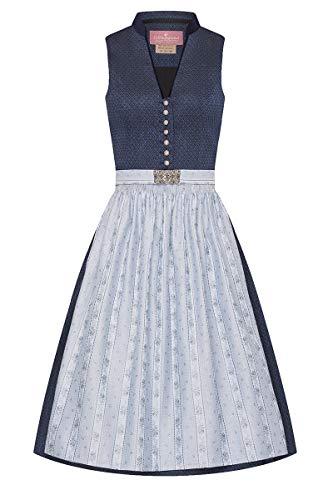 Lieblingsgwand Midi Dirndl 65 cm dunkelblau hellblau Gemustert Clara 008229 - limitiert, Retro-Dirndl, Stehkragen, hellblaue Webschürze, altsilberne Knöpfe 40