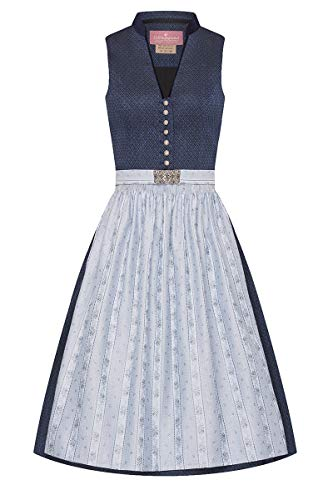 Lieblingsgwand Midi Dirndl 65 cm donkerblauw lichtblauw patroon Clara 008229 - gelimiteerd, retro-Dirndl, opstaande kraag, lichtblauwe geweven schort, oudzilveren knoppen