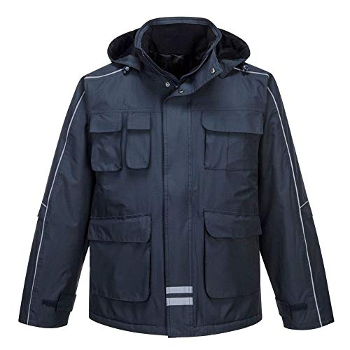 Portwest S563RS Parka mit vielen Taschen und Fausthandschuh im Eskimo-Stil, XL, marineblau