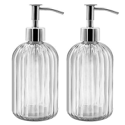 Confezione da 2 dispenser di sapone in vetro con pompa, 400 ml, dispenser di sapone liquido per sapone, shampoo e lozione, ricarica per cucina, bagno, lavanderia (trasparente)