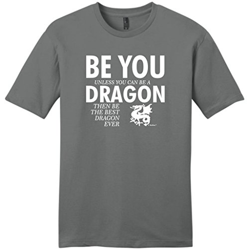 Be You Unless You Can Be a Dragon Funny Young Mens Camisetas Large Grey