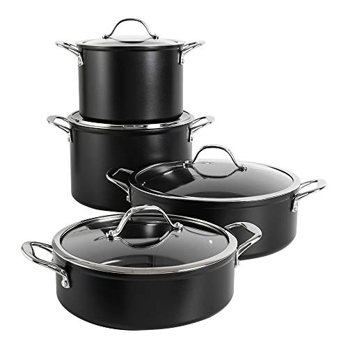 ProCook Professional Ceramic Non-Stick Stock Pot and Casserole Pan Set - 4 Piece - Pans for Creating Soups, Stews, Ragouts, Curries and More - Induction Compatible - Oven Proof - Dishwasher Safe