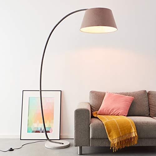 Elegante Bogenstandleuchte 1,9 x 1,2 Meter, 1x E27 max. 60 Watt aus Beton/Metal/Textil in braun/grau