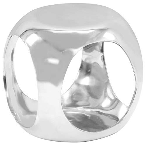 vidaXL Bijzettafel Gegoten Aluminium Zilverkleurig Bijzet Accent Tafeltje