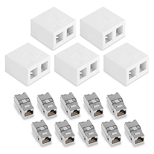 kwmobile Rosetas RJ45 de Pared con módulos Keystone - Set de 5X Caja de Red Internet Ethernet 10x Conector para Cables CAT6A y 5X Material Montaje