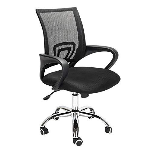 Home-Office-Stuhl, ergonomischer drehbarer Schreibtischstuhl mit Armlehne, Kopfstütze und Lordosenstütze, Verstellbarer Netz-Computerstuhl mit Wippenfunktion, Tragfähigkeit von 150KG (schwarz)