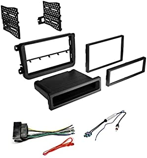 Car Stereo Radio Dash Kit, Wire Harness, and Antenna Adapter to Install an Aftermarket Radio for Some 2016+ VW Beetle/Jetta/Passat/Tiguan etc - No Factory Premium Amp - See Compatible Vehicles Below,