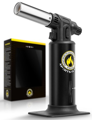 Kitchen {Culinary} Torch   Cooking Torch For Creme Brulee   Butane Blow Torch For Home & Pro Chefs   Safety Lock & Adjustable Flame   Free Bonus: Stand & 2 Recipe E-Books   By XPERTS FLAME. (BLACK)
