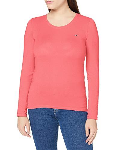 Tommy Jeans Damen TJW Stretch Jersey Scoop Neck T-Shirt, Glamour Pink, M
