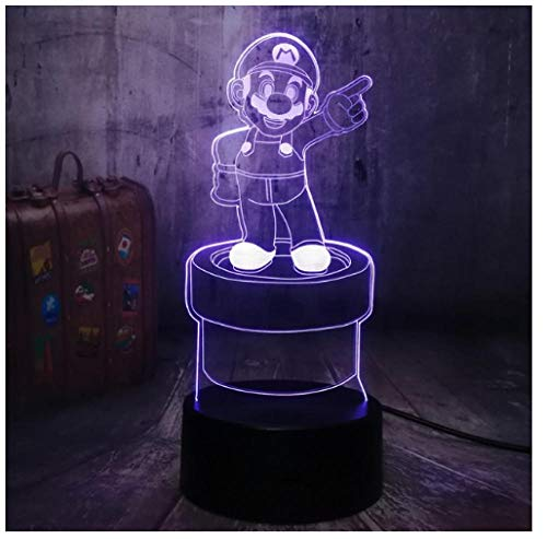 3D LED Night Light Lamp 3D Illusion Lamp for Kids Dimmable Brightness Light for Home Decoration and Gifts for Lovers, Parents, Friends Children Games-Touch
