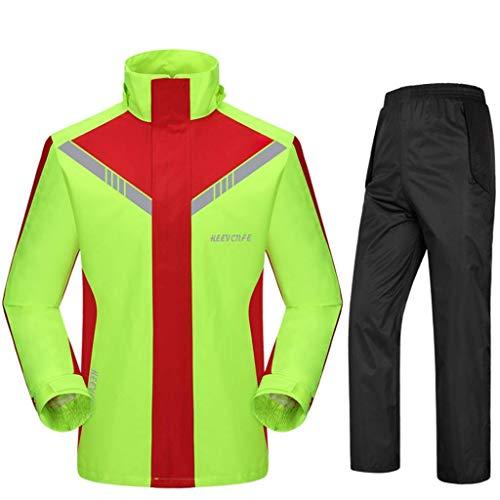 WMYATING Chubasquero dividido, chaqueta, pantalones para hombre y mujer, traje de motocicleta, impermeable, resistente al viento, poncho de lluvia (color: rojo y verde, tamaño: XXL)