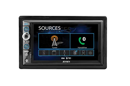 JENSEN CMR322 Double DIN Car Stereo Digital Receiver with 6.2-inch LED Backlit LCD Multimedia Touch Screen Built-In Bluetooth/MP3 & FLAC/USB & microSD