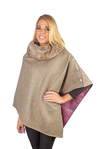 Dames Country Check Yorkshire Tweed 100% wol Poncho Cape Wrap - Twee Toon Satijn gevoerde Country Wrap met Faux Fur kraag
