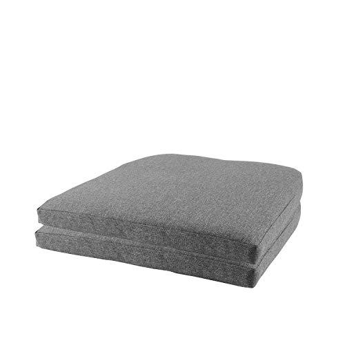 Wohaga Komfort Sitzkissen Set 48x48x5cm, UV- & Wasserbeständig, Outdoorkissen, Farbe:Grau, Sets:2er Set