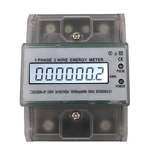Sun3Drucker LCD Digitale Stromzähler Wechselstromzähler Hutschiene KWh Zähler 3x10(100) A 1-phasiger 2-poliger DIN-Schienen-Stromzähler