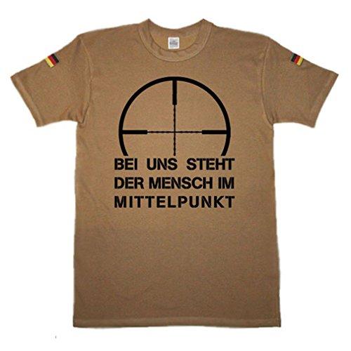 Copytec BW Tropen Bei Uns Steht der Mensch im Mittelpunkt Bundeswehr Tropenshirt Sniper Scharfschützen Fadenkreuz Humor Fun Spaß Reservist BW Tropen Tropenhemd (Herren XXXL, Khaki)