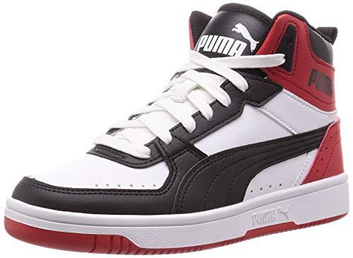 PUMA Unisex Rebound Joy Sneaker, White Black-High Risk Red, 42 EU