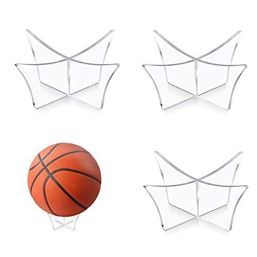 XIOJAE Ball Halterung Ballständer Halter Rack Unterstützung Basis Acryl Ball Display Ball Halter Ständer Football Ständer Für Basketball Fußball Volleyball Übungsball Softball Rugby Ball 3 Stück