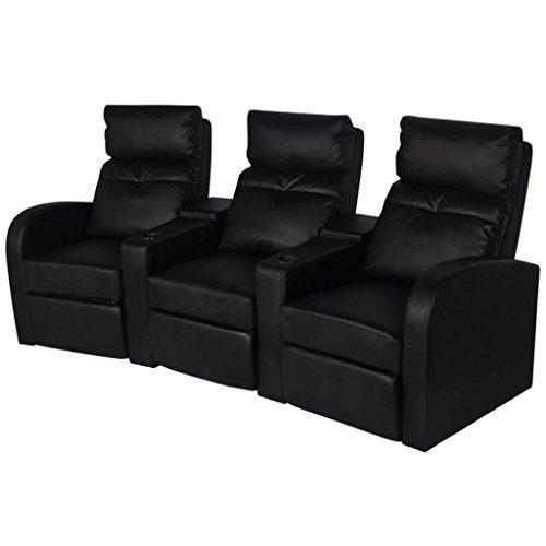 Festnight Kunstleder Heimkino Sessel 3-Sitzer Sofa Relaxsessel Fernsehsessel Liegesessel Sitzkomfort Schwarz