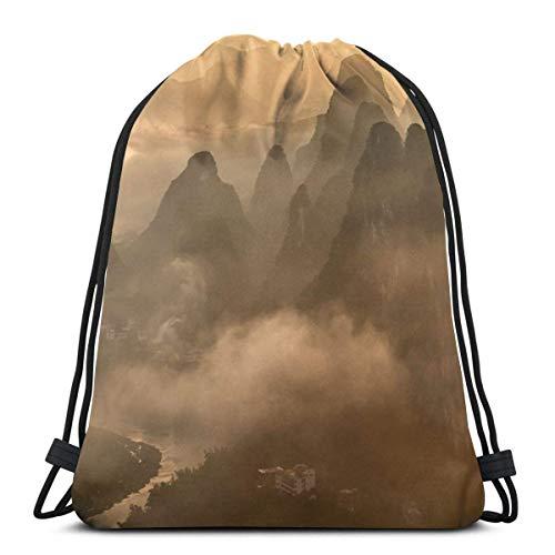 BXBX billig Cloudy Peaks Unisex Outdoor Rucksack Shoulder Bag Travel Drawstring Backpack Bag