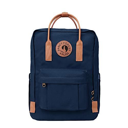 KALIDI Rucksack/Daypack Rucksack Mädchen Jungen & Kinder Damen Herren Schulrucksack mit laptopfach für 15 Zoll Notebook (Dunkelblau mit Leder)