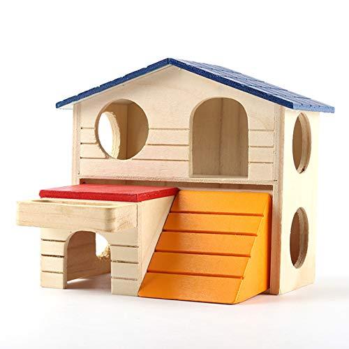 Gojiny Hamster Cottage House, Hamster de madera de dos pisos, casa de juego de hámster para animales pequeños
