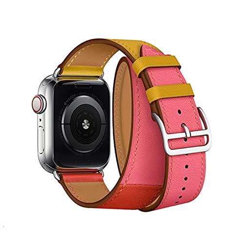 Correa de cuero de vaca Double Tour para Apple Watch 5 bandas 44 mm iwatch Series 4 31 4 mm lazo 38 mm pulsera Reemplazo 40 mm acero