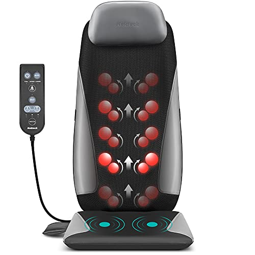 Nekteck Shiatsu Neck & Back Massager with Heat, Deep Tissue Kneading Massage Chair Pad for Back, Waist, Thighs Pain Relief, Electric Massage Seat Cushion for Home & Office Use