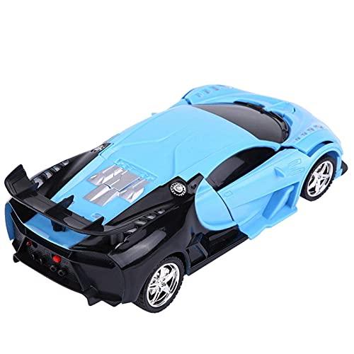 QQW Coche de Juguete Deformado, Automóvil Deformado, Vehículo de Control Remoto de 1/18 a Escala con Luz de Encendido de una Llave de un Automóvil Rc (Coche de Policía),Azul