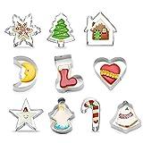 Wudesky Navidad Moldes para Galletas de Acero Inoxidable Cortadores para Repostería, Chocolates,...