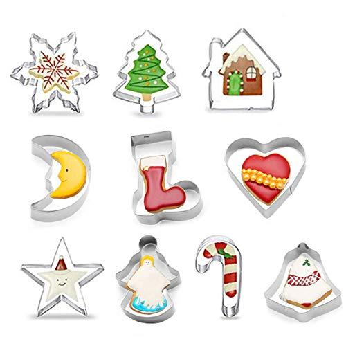 Lrikas Stampini Biscotti Natale Tagliabiscotti Natalizi Set 10 PCS Formine Biscotti a Tema Natalizio con Forma di Babbo Natale & Fiocco di Neve ECC - Stampini per Biscotti in Acciaio Inox per Natale