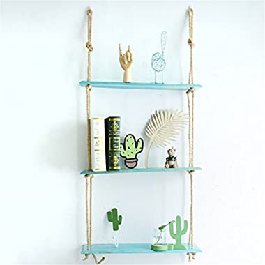 KINGSO Macrame Display Wall Hanging Shelf Swing Rope Floating Shelves Home Decor,Distressed Wood Hanging Swing Rope Floating Shelves Wood Suspended Hanging Shelf blue three layers