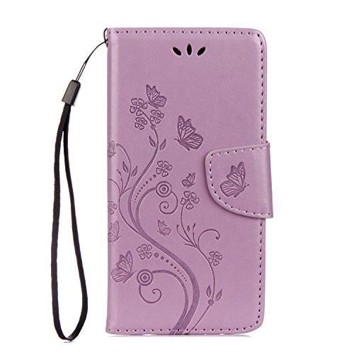 Sunrive Hülle Für Samsung Galaxy Xcover 4, Magnetisch Schaltfläche Ledertasche Schutzhülle Hülle Handyhülle Schalen Handy Tasche Lederhülle(Prägung Licht lila s)+Gratis Universal Eingabestift