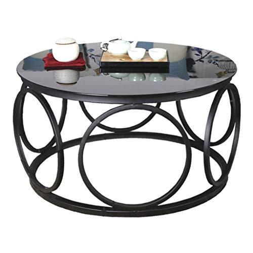 Table Basse de Salon en Fer forgé, Plateau en Verre trempé, mobilier Moderne pour la Maison, Rond, Noir, Plusieurs Dimensions en Option