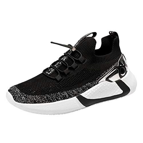 Zapatos De Running Hombre Malla Tejida con Mosca Sneakers Transpirables Casual Zapatos Aire Libre Zapatillas De Deporte