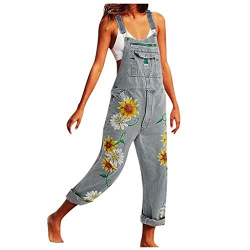 Kanpola Damen Jeans Latzhose Lang LäSsig Latzjeans Overall Loose Fit Blumen Denim Hosen Vintage Boyfriend Jumpsuit TräGerhose