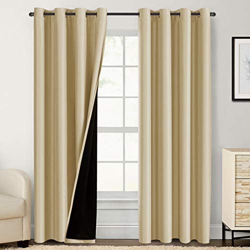 100% Blackout Curtains for Bedroom 84 Inches Long Thermal Insulated Lined Curtains for Living Room Double Layer Full Light Blocking Energy Saving Grommet Drapes Draperies, 2 Panels, Wheat