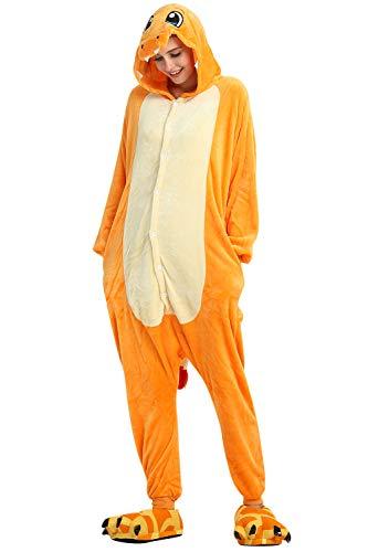 YAOMEI Erwachsene Jumpsuits, 2020 Kostüm Tier Kostüm-Anzug Onesie Nachthemd Schlafanzug Kapuzenpullover Nachtwäsche Cosplay Karton 3D Kigurumi Fastnachtskostuem Halloween (Charizard, XL)