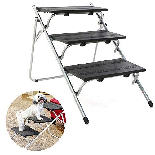 Escalones perros antideslizantes mejorados, escaleras para perros con estructura metal, estructura tubo hierro resistente que soporta 100 libras Pies goma Diseño compacto y fácil plegar, para camiones