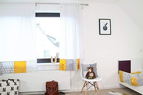 ULLENBOOM ® 2er Set Vorhänge Kinderzimmer 140x170 cm Elefant Gelb (Made in EU) - Patchwork Vorhang Kinderzimmer & Babyzimmer, 2 Kindergardinen Schals aus Baumwolle, Motiv: Sterne, Punkte