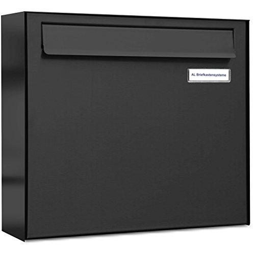 AL Briefkastensysteme 1er Briefkasten für Tür/Zaundurchwurf in Anthrazitgrau RAL 7016, 1 Fach DIN A4, wetterfeste Premium Briefkastenanlage Postkasten