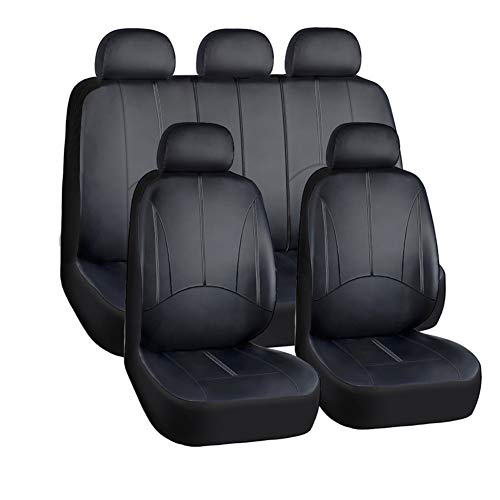 YIRU Car Seat Covers Full Set - Luxurious Leather Auto Front Rear Headrest Seat Protectors - Fits Most Car Truck Van SUV, Black