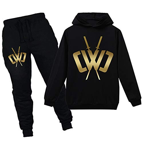 Boys Girls Tracksuit Set,Chad Wild Clay Merch for Kids Hoodies Jogging Bottoms Suit 2-16 Years,Sports Suit Hoodie Pants Black