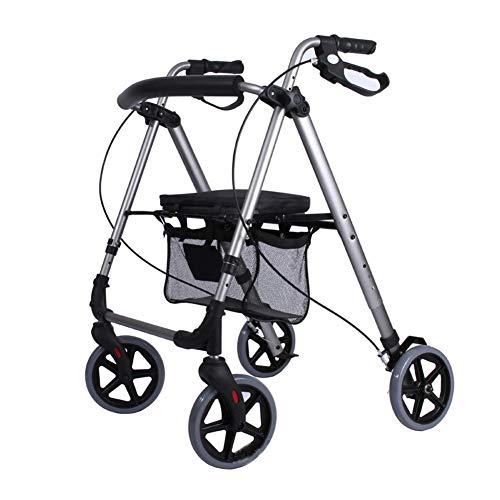 HTL Andador Ayuda para Caminar Carretilla Plegable de Aluminio de la Luz Walker 4 Ruedas Motorizados Del Carro Y el Respaldo Del Asiento
