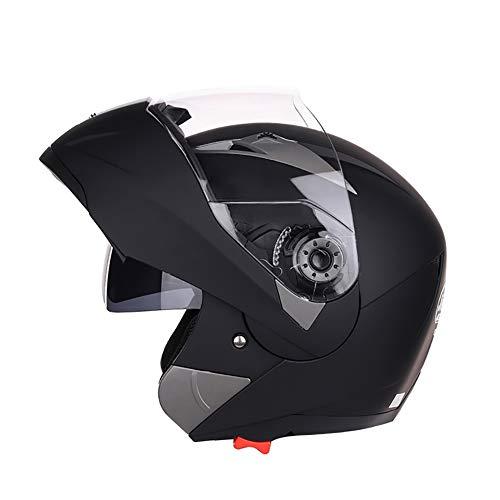 YXDDG Casco Dual Sport Sport Moto-Casco Casco Aperto con Due Visiere per Casco Moto Anteriore Flip Adulto-Nero M