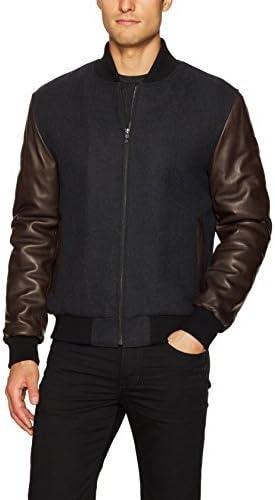 Bugatchi Men's Heathered Wool Bomber Jacket