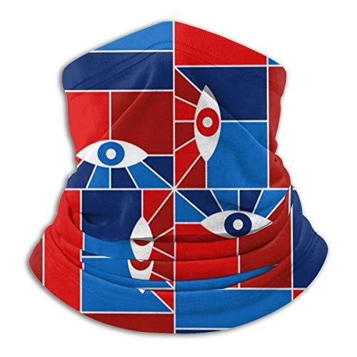 NA Nahtlose Sturmhaube mit halbem Gesicht Coole Bauhaus-Geometrie mit Augen Mikrofaser-Halswärmer-Mundabdeckung