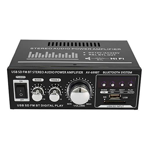 Mini Audio Stereo Leistungsverstärker LCD Display HiFi FM Radio Tragbare Auto Home 400 Watt Fernbedienung Audio Verstärker 12V/ 220V, Modell: AV-699BT